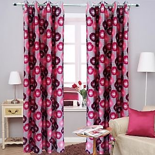 Homefab India Floral Maroon Window(6X4 ft)Curtain(HF254)