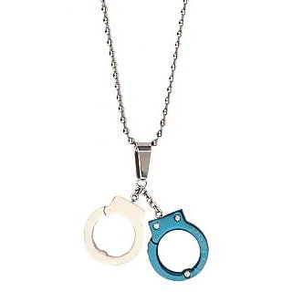 The jewelbox stainless steel neon blue plate love forever handcuff the jewelbox stainless steel neon blue plate love forever handcuff pendant chain aloadofball Image collections