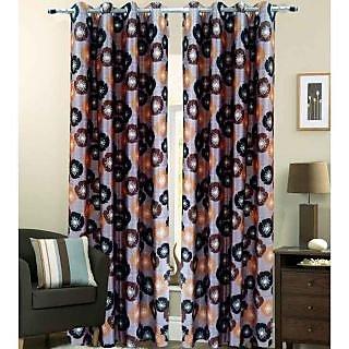 Homefab India Floral Brown Long Door(9X4 ft)Curtain(HF255)