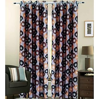 Homefab India Floral Brown Window(6X4 ft)Curtain(HF255)