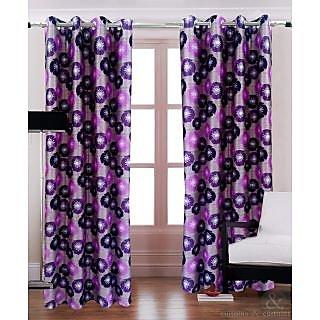 Homefab India Floral Brown Purple Window(5X4 ft)Curtain(HF256)