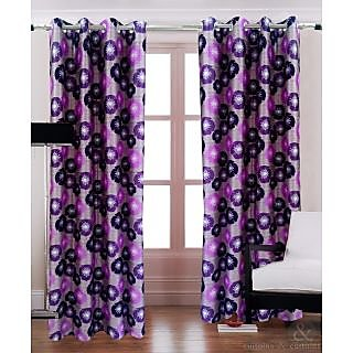 Homefab India Floral Brown Purple Long Door(9X4 ft)Curtain(HF256)