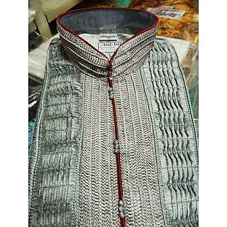 Steel-Blue Kurta Pajama with Thread Weave and Chinese Collar