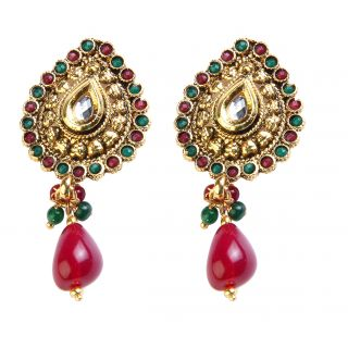Kriaa Elegant Maroon & Green Earrings  -  1301907