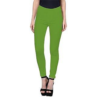 Triveni Cute Green Colored Cotton Spandex Comfortable Leggings