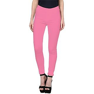 Triveni Stylish Pink Colored Cotton Spandex Comfortable Leggings