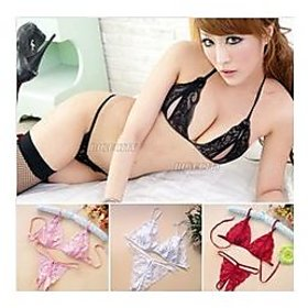 Chic Women Lace Crotchless -1 Bra  1 G-string- Lingerie set (1 Qty ) (Maroon, Black, Pink, White)