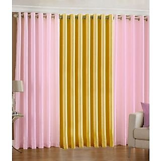 Homefab India Set Of 3 Multi-Colour Long Door(8X4)Curtains(HF275)