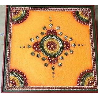 Handmade Wooden Pooja Chowki Yellow