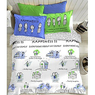 Blue And White Happiness is Bedlinen (Bedsheet Set (King))