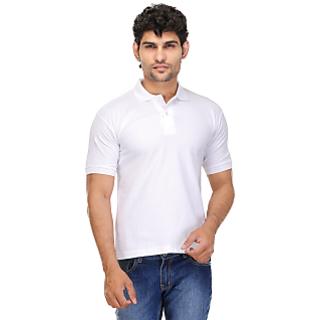 Tsx White Cotton Blend V-Neck T-Shirts For Mens