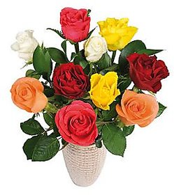 Basket of Mix Roses Flower