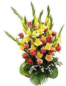 Lovely Basket of Roses and Glads Flower Gift