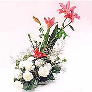 Delicate Love with Oriental Lilies and Carnations