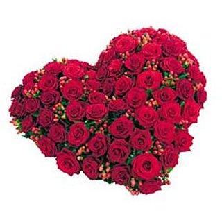 Beautiful Fresh Red Roses Heart Shape Flower