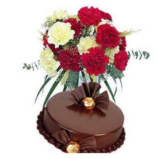 Lovely Bunch of Carnations with Cake