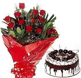 Bunch of 12 Roses n Black Forest Cake Flower