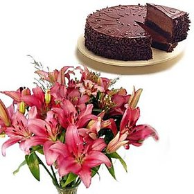 Bunch of Lilies N Chocolate Cake Flower Gift