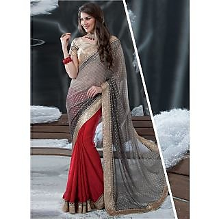 Swaron Multicolor Chanderi Embroidered Saree With Blouse