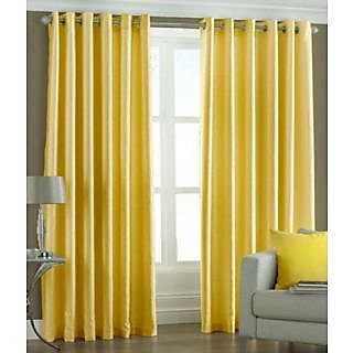 Homefab India Royal Silky yellow Long Door(8X4 ft)Curtain(HF166)