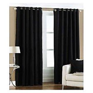 Homefab India Royal Silky Black Long Door(8X4 ft)Curtain(HF183)