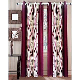 Homefab India Zig Zag Maroon Window(5X4 ft)Curtain(HF262)