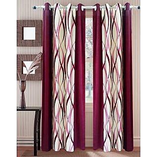 Homefab India ZIG ZAG Maroon Window(6X4 ft)Curtain(HF262)