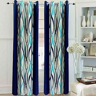 Homefab India Zig Zag Blue Door(7X4 ft)Curtain(HF263)