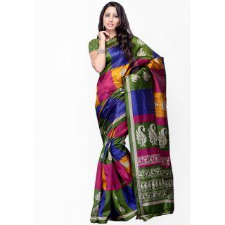 Women's Multicolor Printed Bhagalpuri Silk Saree