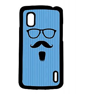 Pickpattern Back Cover For Lg Google Nexus 4 BLUEGOATEEMOUSTACHEN4-16792