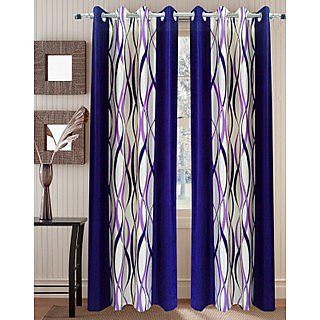 Homefab India Zig Zag Purple Window(6X4 ft)Curtain(HF266)