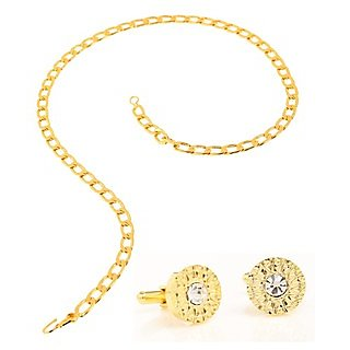 Flat Looped Chain And Classic Studded Cufflink