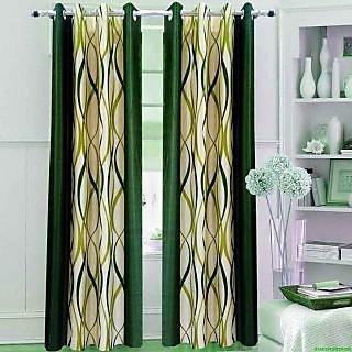 Homefab India Zig Zag Green Door(7X4 ft)Curtain(HF267)