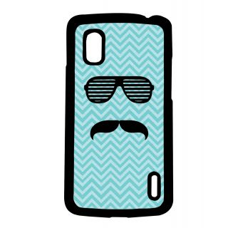 Pickpattern Back Cover For Lg Google Nexus 4 BLUEBACKGROUNDMOUSTACHEN4-16783