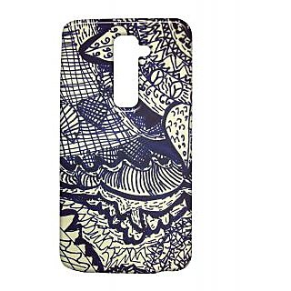 Pickpattern Back Cover For Lg G2 DARKBLUELEAFLGG2-15637