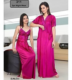 Womens Sexy 2pc Sleep Wear  Nighty  Over Coat 311 Pink Colour Night Gown  Robe