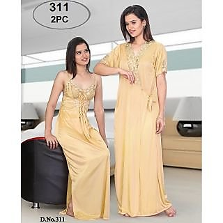 Buy Womens Sexy 2pc Sleep Wear Nighty Over Coat 311 Gold Colour