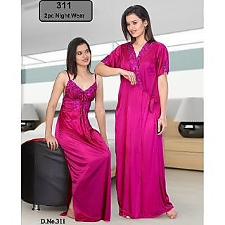 b48bc5940a Womens Sexy 2pc Sleep Wear Nighty   Over Coat 311 Pink Colour Night Gown    Robe at Best Prices - Shopclues Online Shopping Store