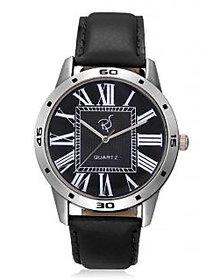 Rico Sordi Round Dial Black Leather Strap Quartz Watch For Men