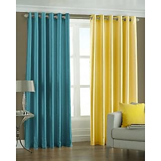 Homefab India Set Of 2 Multi-Colour Long Door(9X4)Curtains(HF169)