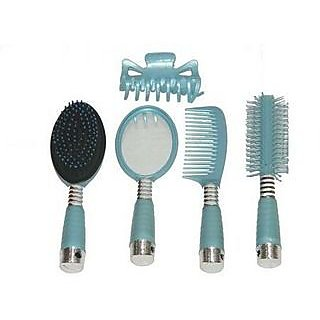5 Pc Plastics Comb Mirror Hairbrush Set With Clip for hair care