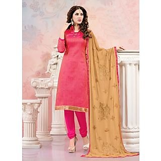 Swaron Khaki Polycotton Lace Salwar Suit Dress Material (Unstitched)
