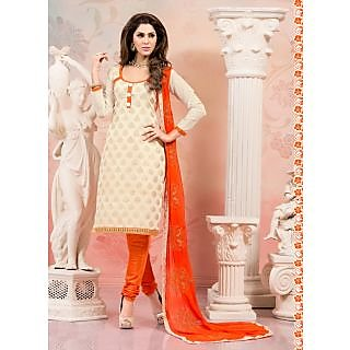 Swaron Purple And Peach Polycotton Lace Salwar Suit Dress Material (Unstitched)