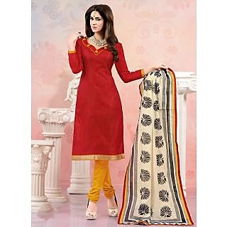 Swaron Red And Orange Polycotton Lace Salwar Suit Dress Material (Unstitched)