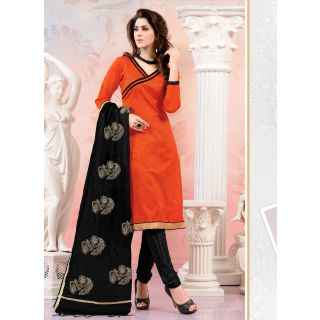 Swaron Peach And Beige Polycotton Lace Salwar Suit Dress Material (Unstitched)