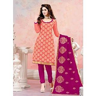 Swaron Khaki Polycotton Lace Salwar Suit Dress Material (Unstitched)