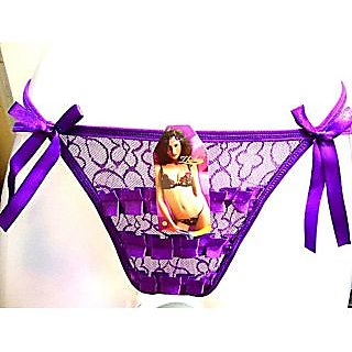 BRIDAL FINE QUALITY NET LAC  PANTY THONG -PURPLE