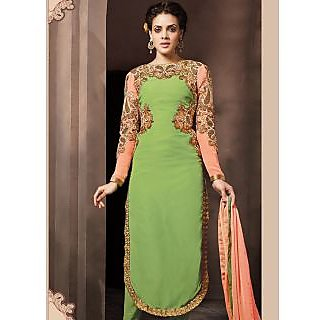Swaron Brown Kota Lace Salwar Suit Dress Material (Unstitched)