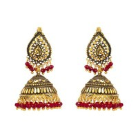 Antique Look Charming Red Beaded Hanging Jhumki
