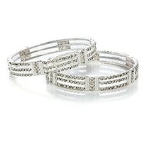 Pair Of Silver Coloured Pretty Ethnic Bangles
